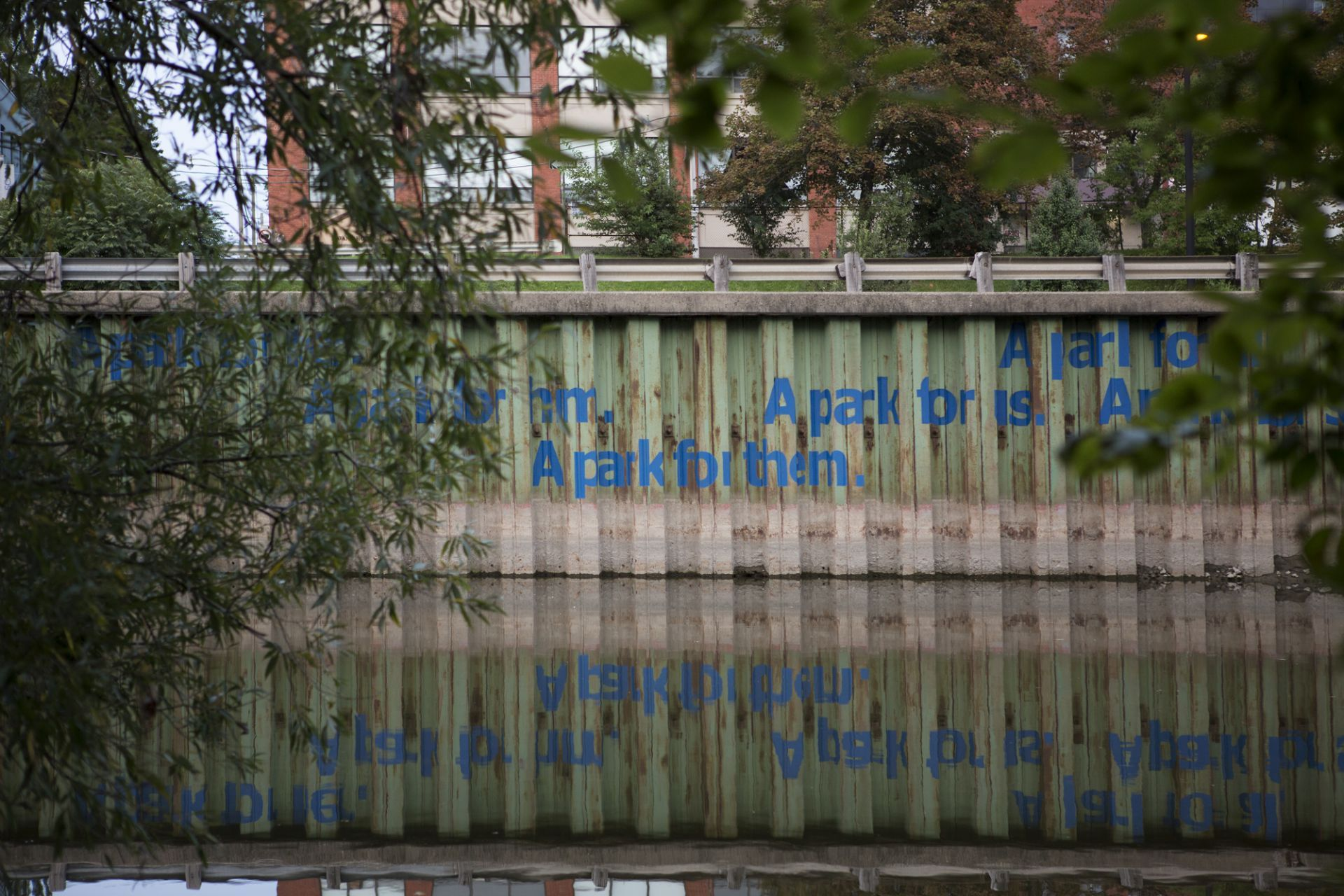 """""""A PARK FOR ALL"""" Mural on the Don River, Toronto. Credit: Claire Harvie"""