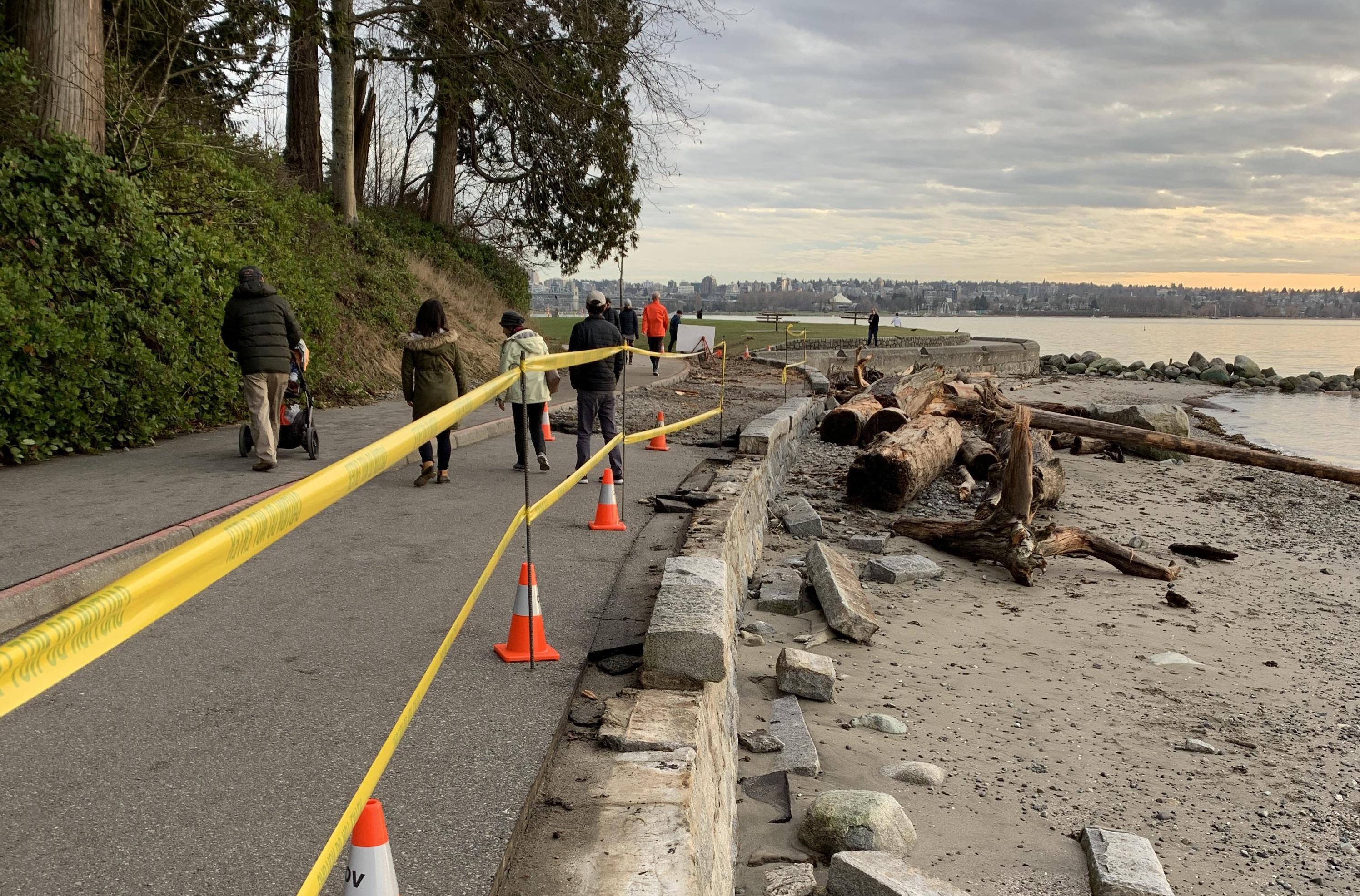 Vancouver sea wall storm damage. Credit: Ali Nayeri.